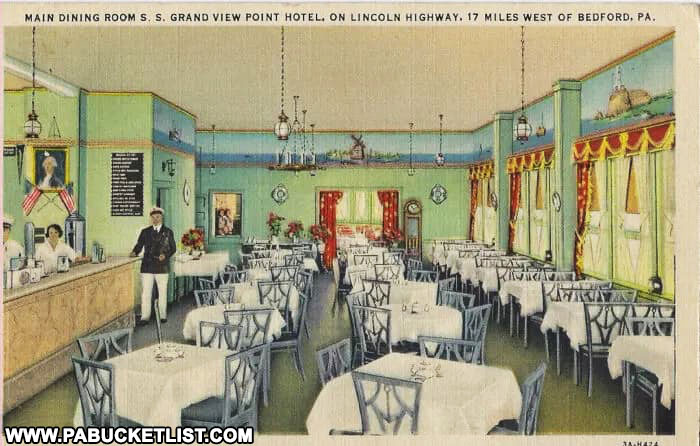 Postcard image of the dining room at the Grand View Point Ship Hotel in Bedford County PA.