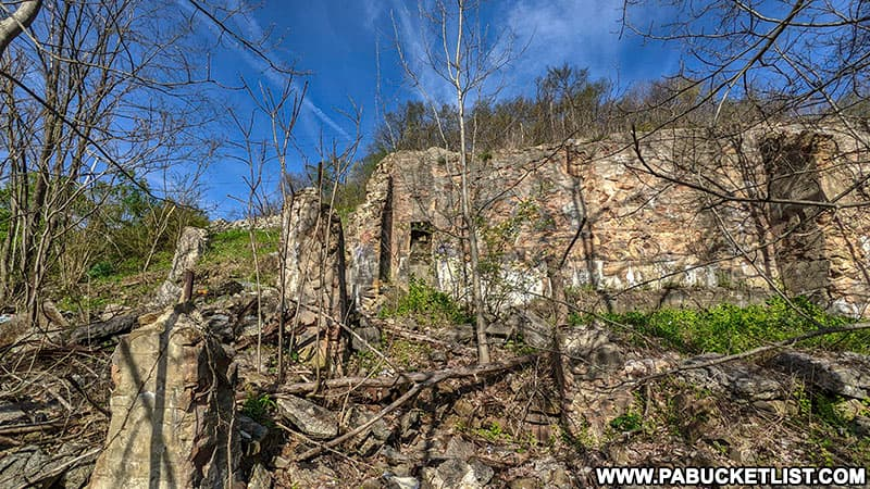 The lone wall still standing from the Grand View Ship Hotel in Bedford County PA