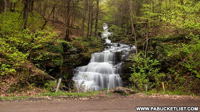 The roadside Holcomb Falls in Bradford County Pennsylvania.