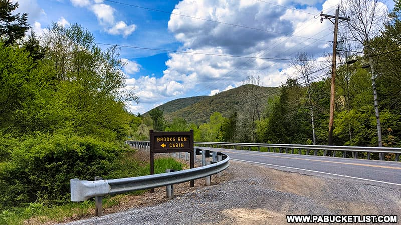 Intersection of Brooks Run Road and Route 872 in Cameron County Pennsylvania.