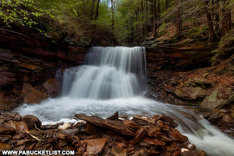 Laquin Falls along the Bradford Falls Trail is named for the former lumber town of Laquin.
