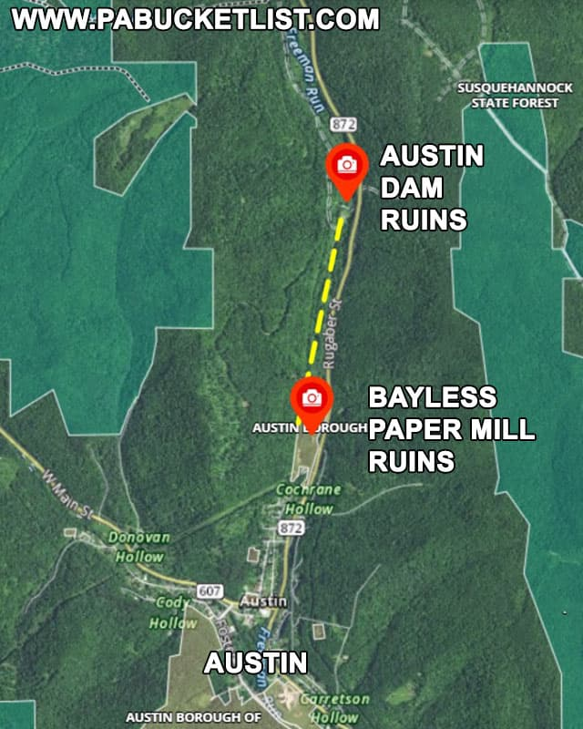 Map to the ruins of Austin Dam and the abandoned Bayless paper Mill in Potter County Pennsylvania.
