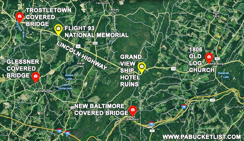How to find the ruins of the Grand View Ship Hotel along the Old Lincoln Highway on Bedford County Pennsylvania.