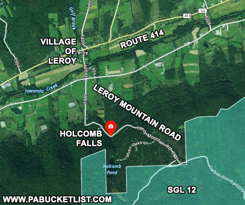 How to find Holcomb Falls in Bradford County Pennsylvania.