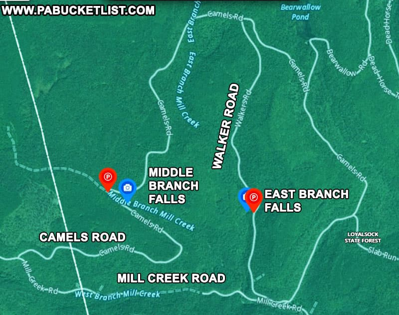 Map to Middle Branch Falls in the Loyalsock State Forest.