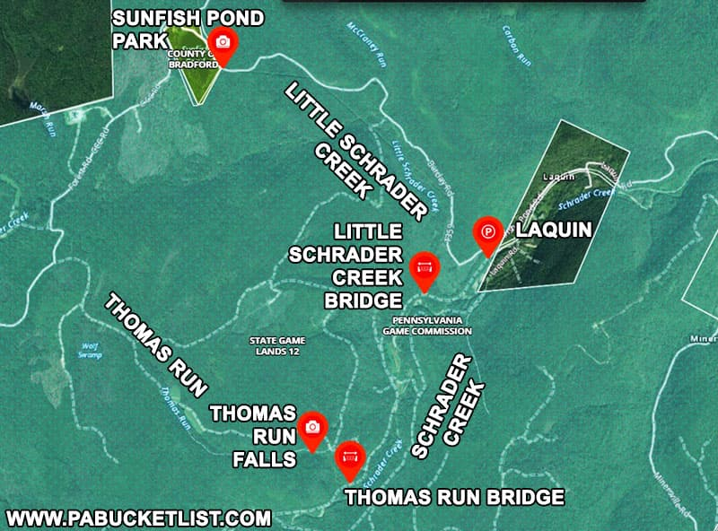 How to find Thomas Run Falls on State Game Lands 12 in Bradford County Pennsylvania.