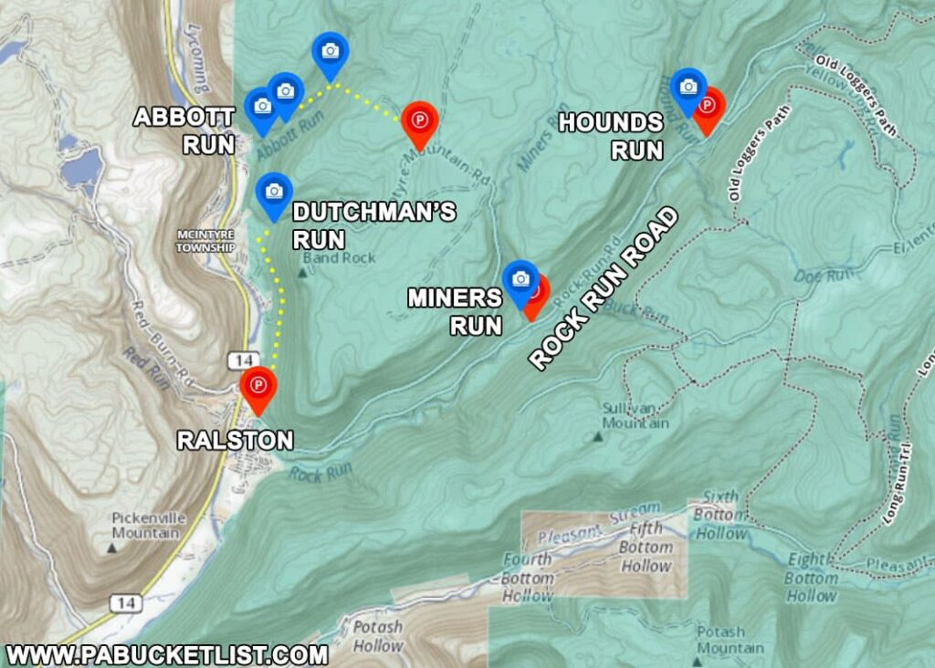 Map to the best waterfalls in the McIntyre Wild Area