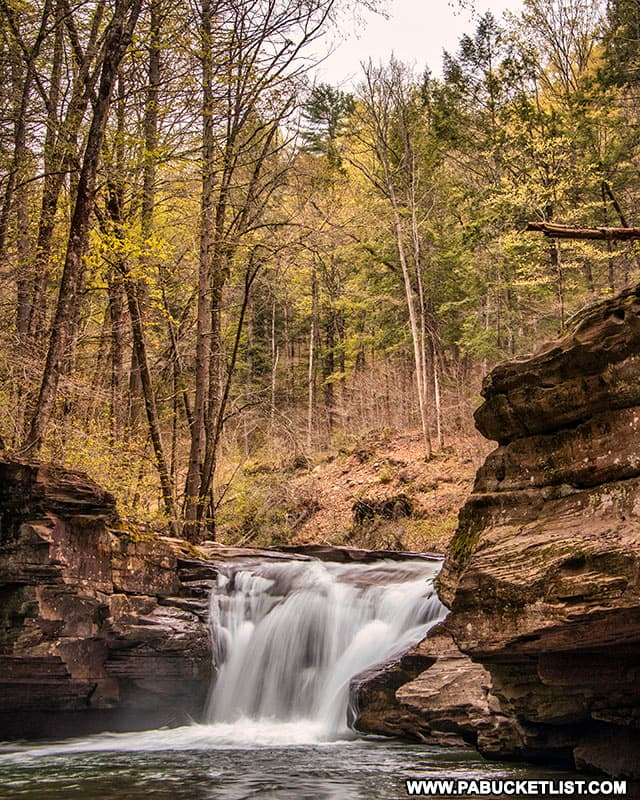 A downstream view of Mill Creek Falls in Sullivan County.