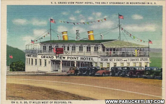 Postcard image of the Grand View Point Hotel along the Lincoln Highway.