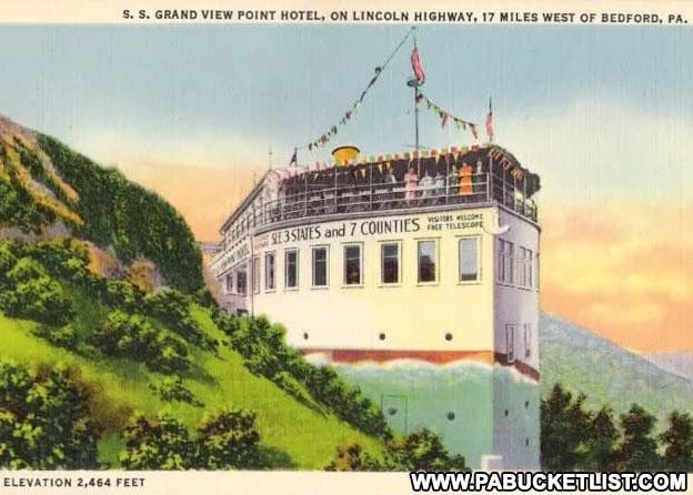 Postcard image of the Grand View Point Ship Hotel in its prime.