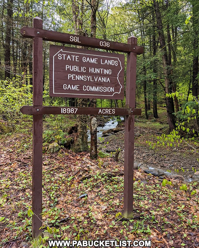 state Game Lands 36 sign in Bradford County, Pennsylvania.