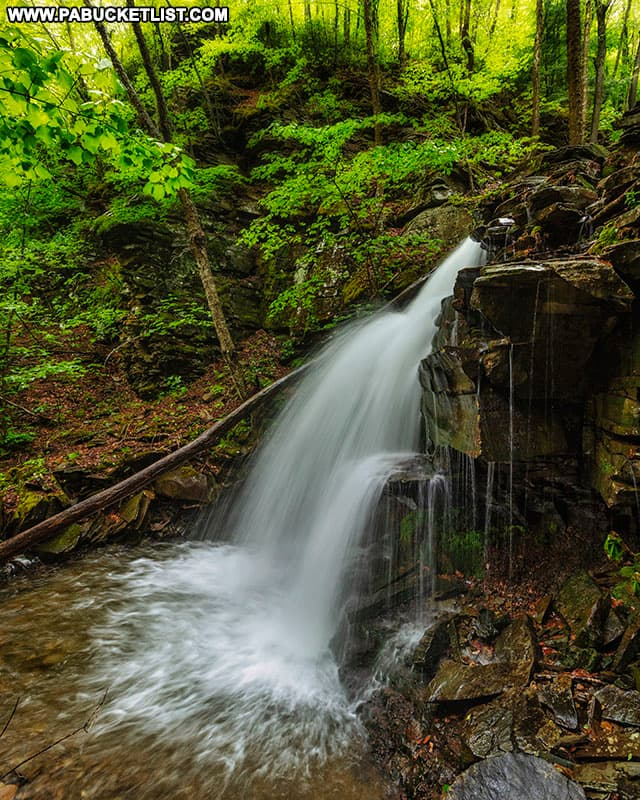 Side view of Thomas Run Falls on State Game Lands 12.