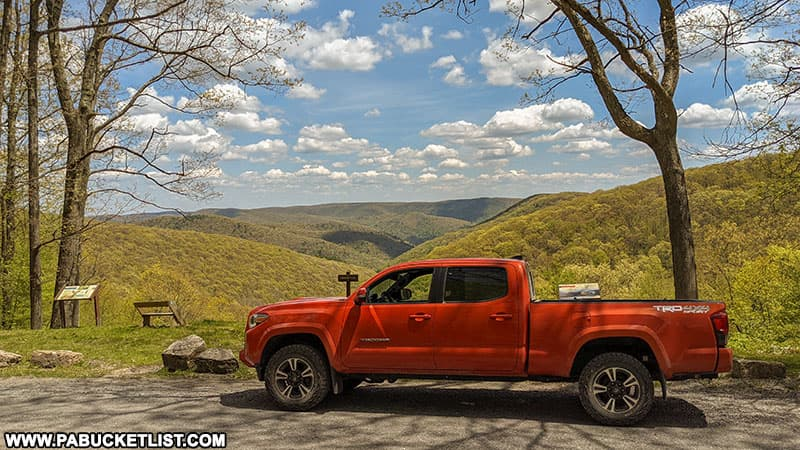Tacoma pulled off at Logue Run Vista along Ridge Road in the Elk State Forest.
