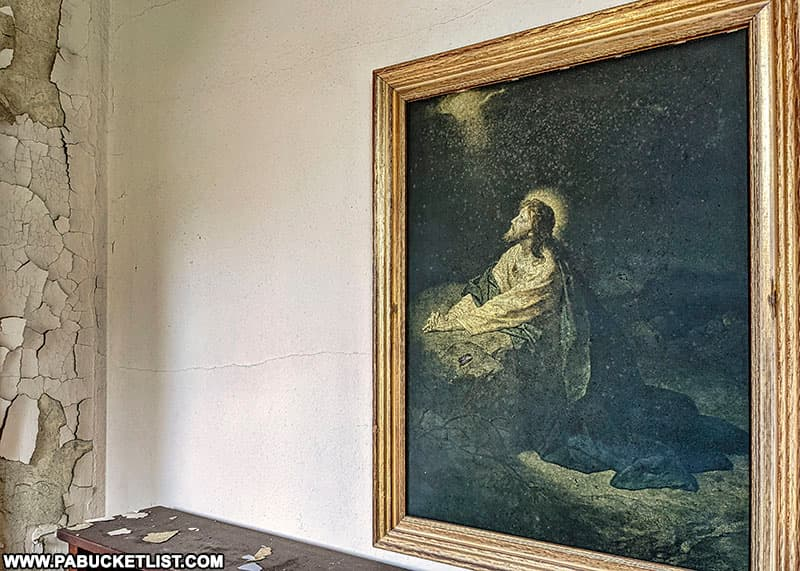 Jesus painting in the Grace Chapel at the abandoned Cresson State Prison.