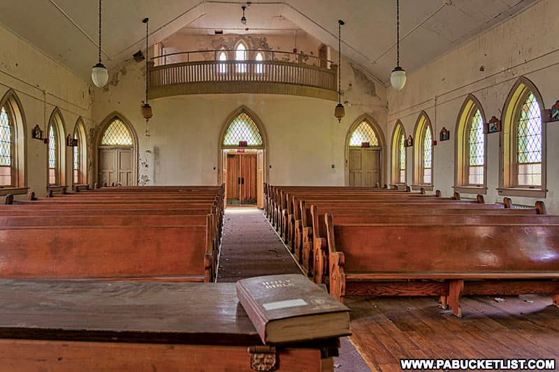 Interior of Grace Chapel at the abandoned Cresson State Prison.