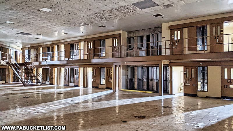 One of the most-recently built cell blocks at the now-abandoned SCI Cresson in Cambria County.