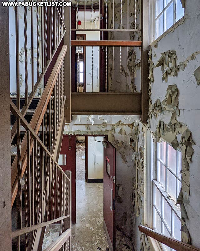 Stairwell between cell blocks at the abandoned Cresson State Prison.