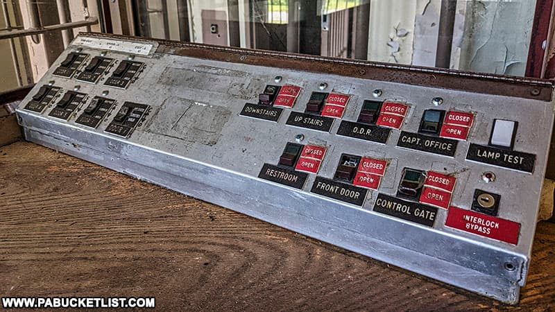 A control panel in one of the cell blocks at the abandoned Cresson State Prison.