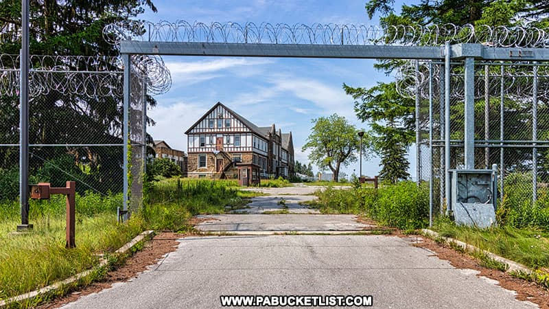 Entering an area of Tudor-style structures left over from the days of the Cresson Tuberculosis Sanitorium.