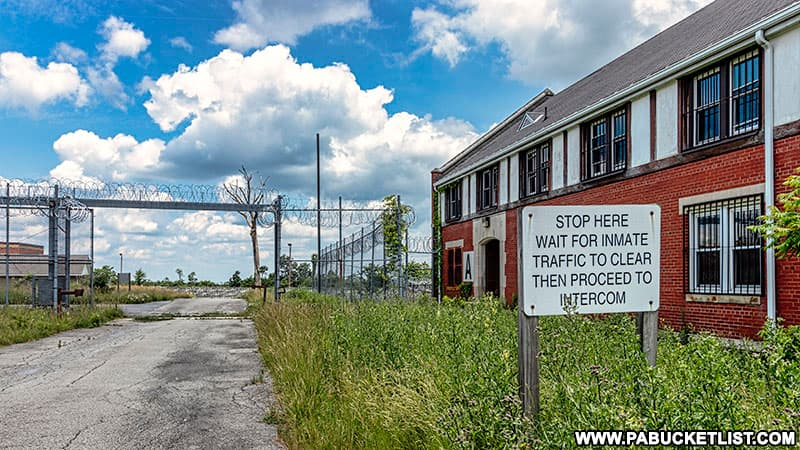 Gated entrance at the former Cresson State Prison in Cambria County.