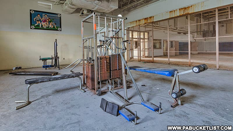 Weight room at the abandoned state prison in Cresson.