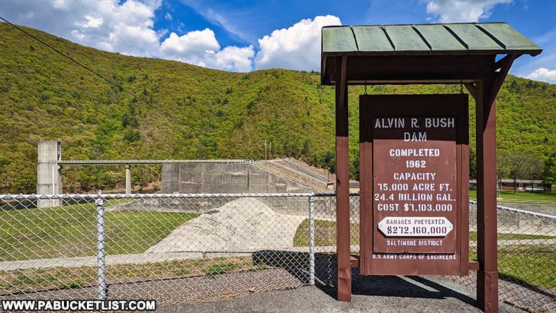Alvin Bush Dam sign at Kettle Creek State Park.