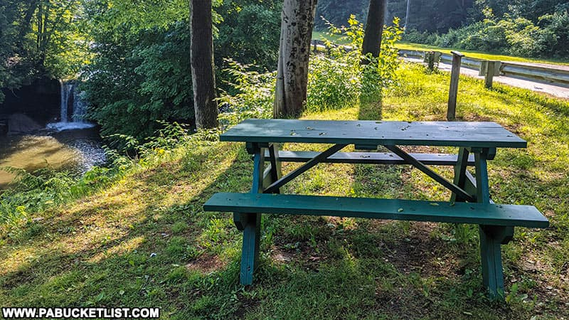 Picnic table at the roadside overlook near Big Run Falls in New Castle.
