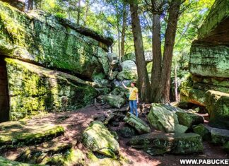 Bilger's Rocks is a 300 million year old rock outcropping in Clearfield County Pennsylvania.