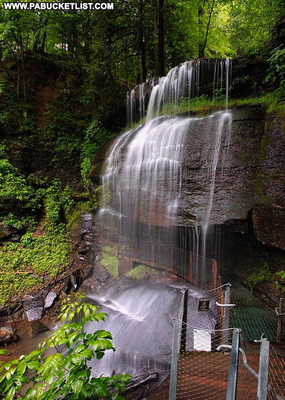 Summertime view of Buttermilk Falls in Indiana County Pennsylvania