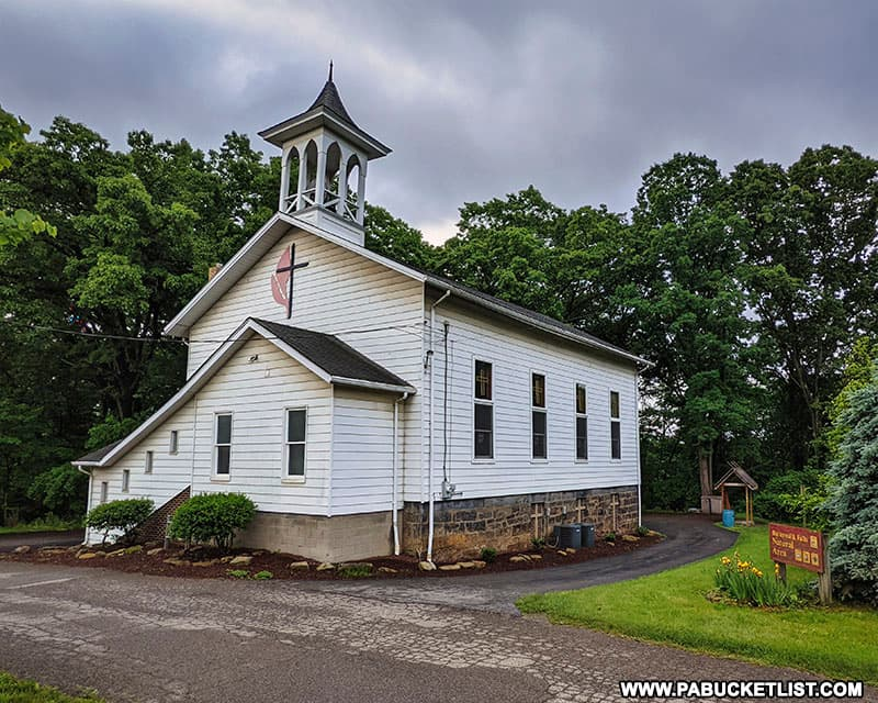 Church near upper parking area for Buttermilk Falls in Beaver County PA.