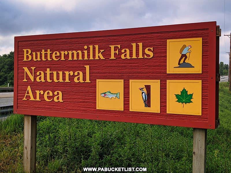 Buttermilk Falls Natural Area entrance sign in Beaver Falls PA.
