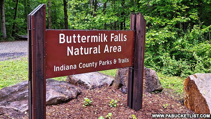 Sign at the entrance to the Buttermilk Falls Natural Area in Indiana County.