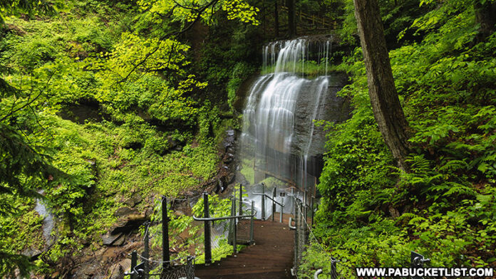 Buttermilk Falls on a summer morning in Indiana County Pennsylvania.