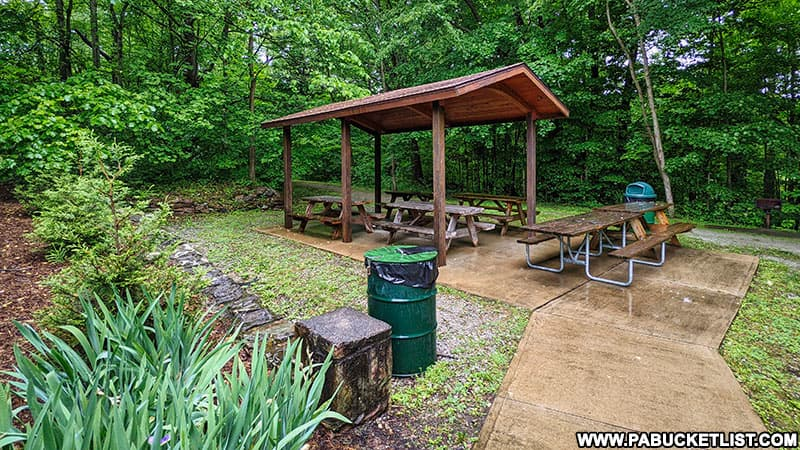 Picnic pavilion at Buttermilk Falls Natural Area in Indiana County.