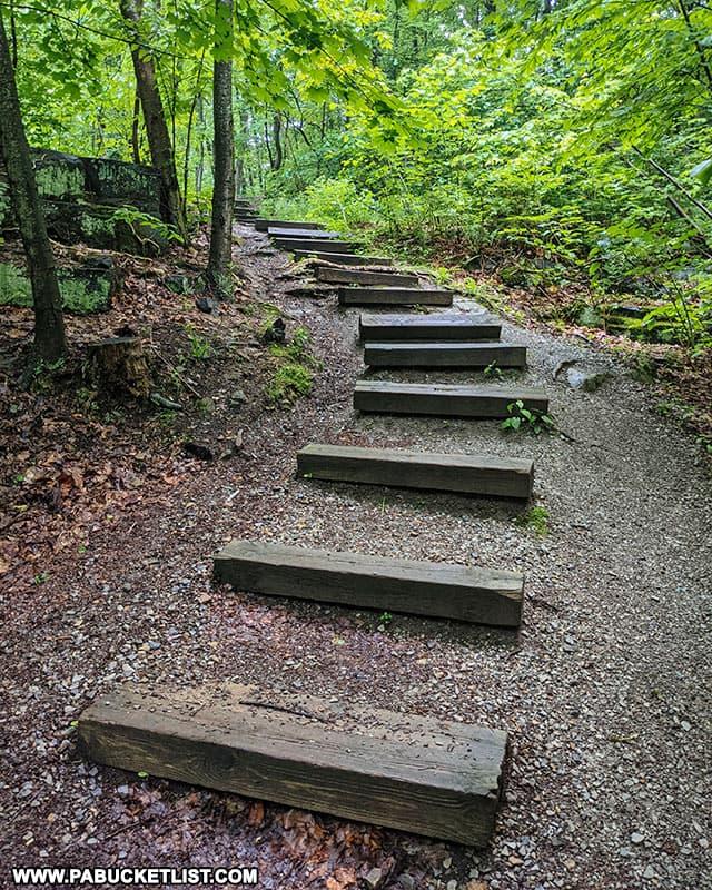 Steps along the Buttermilk Falls TRail in Beaver Falls PA.