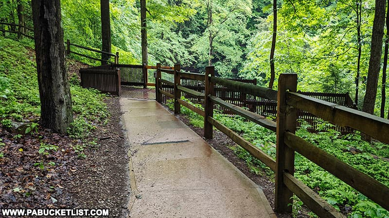Walkway leading to the viewing platform above Buttermilk Falls in Indiana County.