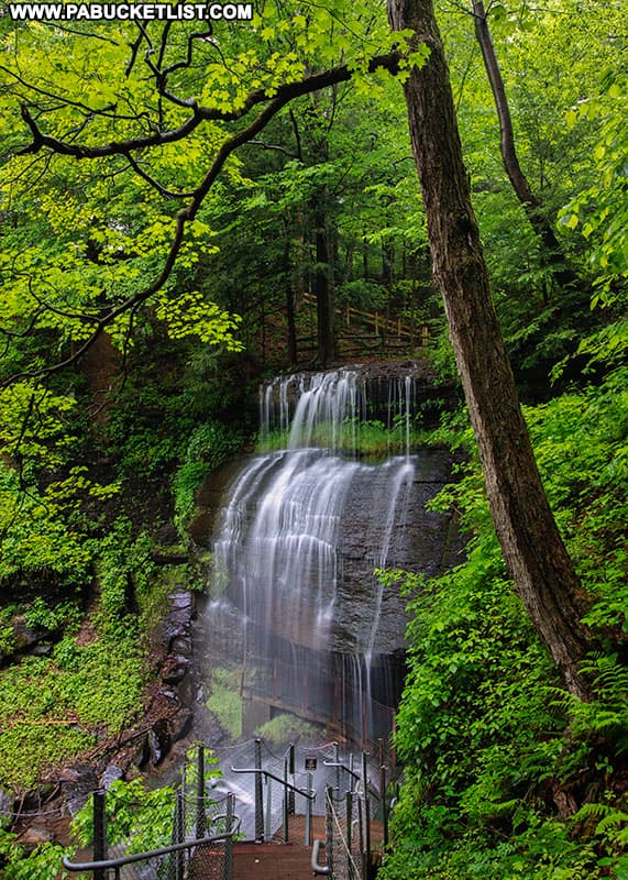 View of Buttermilk Falls in Indiana County from the top of the stairs.
