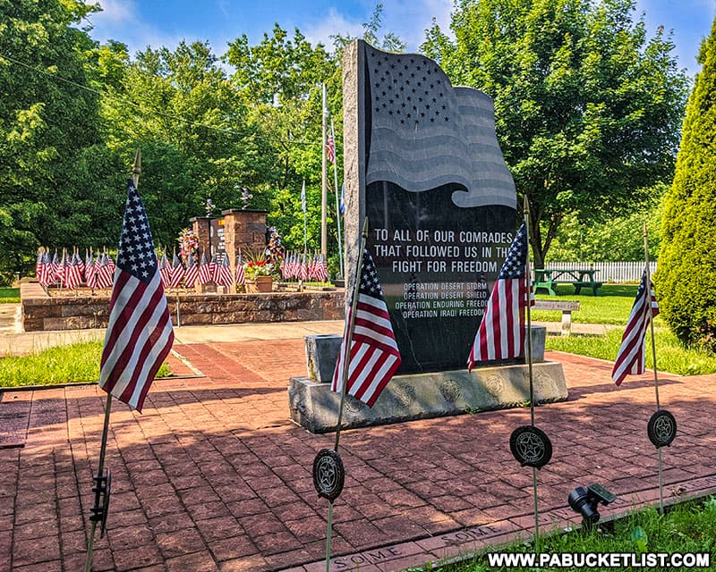 A memorial to US military veterans at Cascade Park in Lawrence County Pennsylvania.