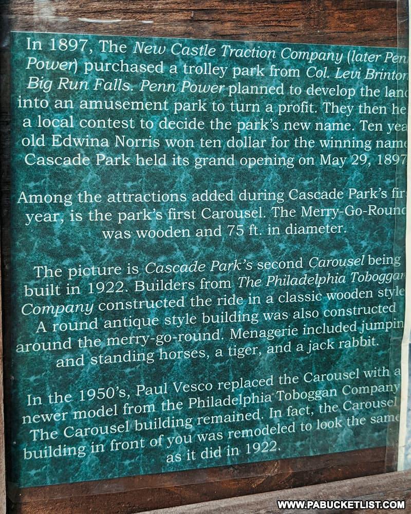 History of Cascade Park in New Castle Pennsylvania.