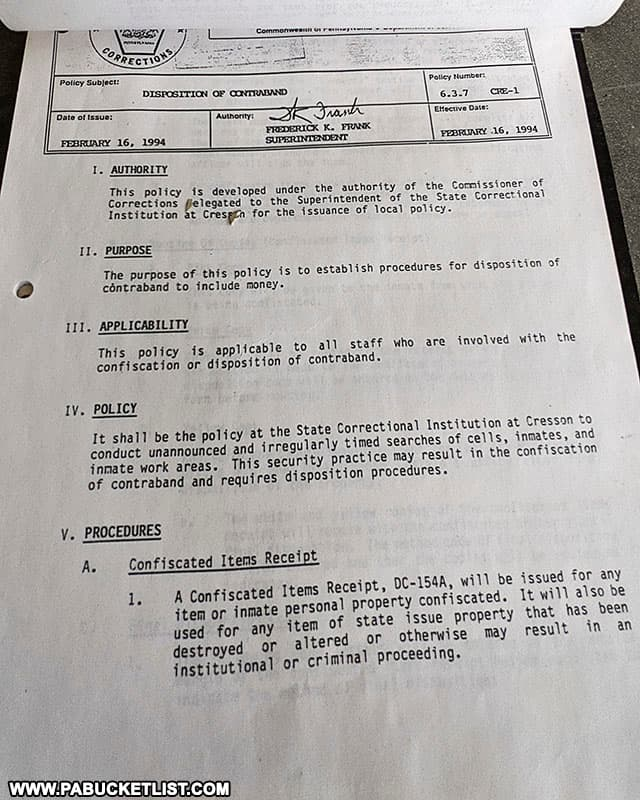 A policy and procedure manual at the former SCI Cresson.