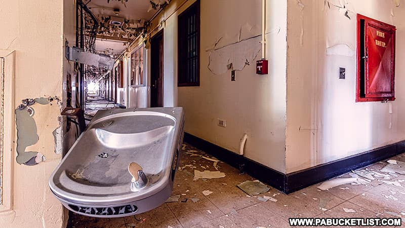 A drinking fountain at the abandoned Cresson State Prison.