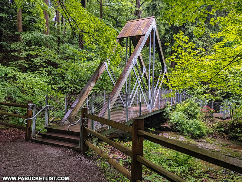 The Eclipse Bridge directly above Buttermilk Falls in Indiana County.