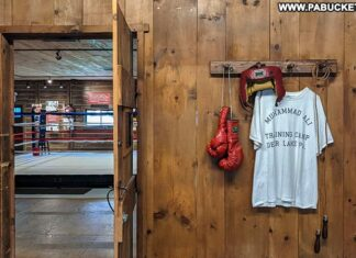Entrance to the gym at Muhammad Ali's training camp in Deer Lake, Pennsylvania.