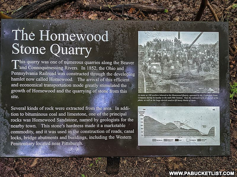 History of the Homewood Quarry at what is now Buttermilk Falls Natural Area in Beaver County.