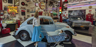 Vintage VW Bug on display at Jerry's Classic Cars and Collectibles Museum in Pottsville.