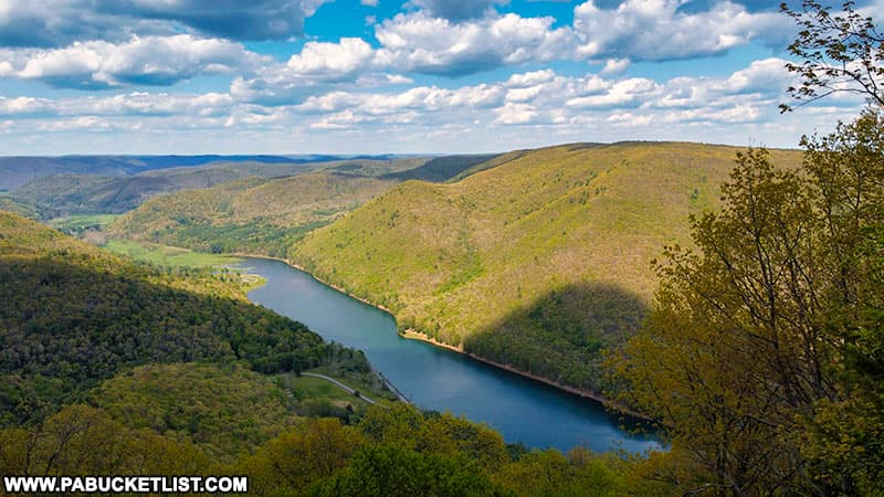 View of Kettle Creek Reservoir from Kettle CReek Vista in the Sproul State Forest.