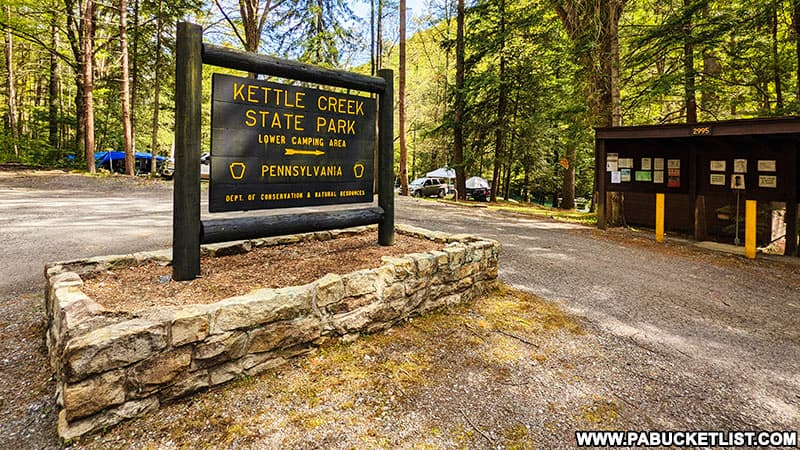 The lower camping area backing to Kettle Creek at Kettle Creek State Park.
