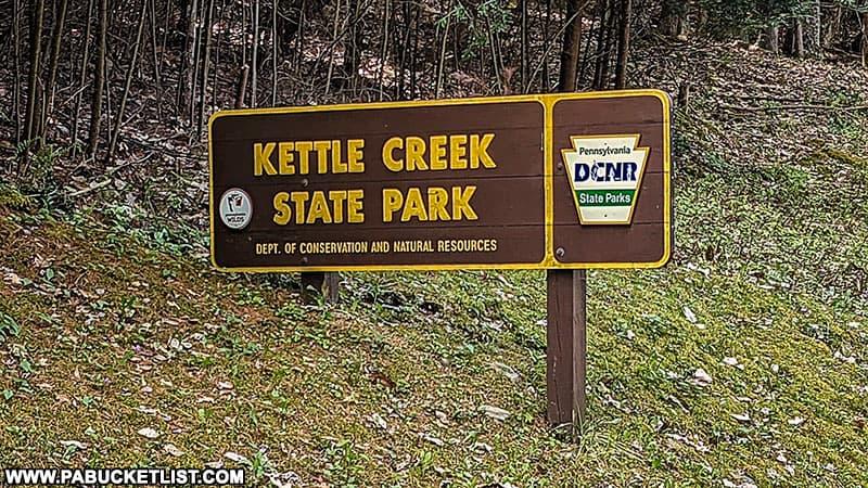Kettle Creek State Park entrance sign.