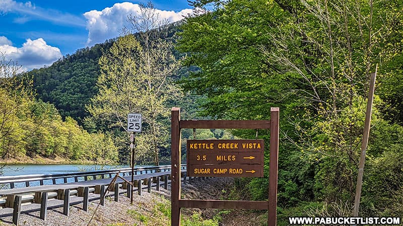Kettle Creek Vista directional sign at Kettle Creek State Park.