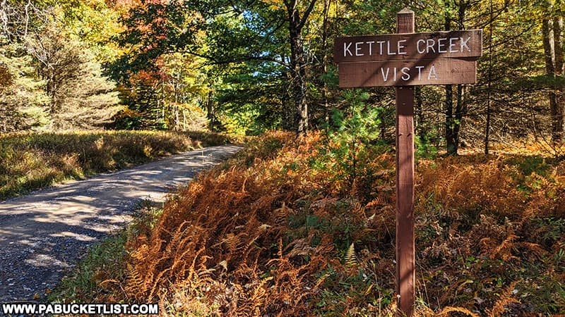 Sign for Kettle CReek Vista in the Sproul State Forest.